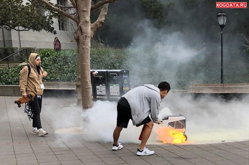 В Калифорнии робот-курьер сгорел дорогой к клиенту